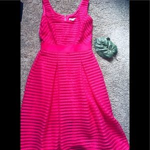 New York and Co hot Pink Eyelet Dress-8